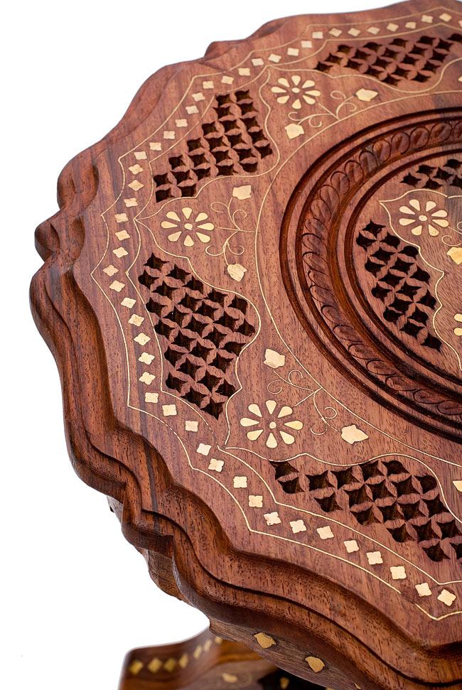 アジアンサイドテーブル 【直径:約37cm】の写真3 - テーブル面の美しいデザインをご覧ください