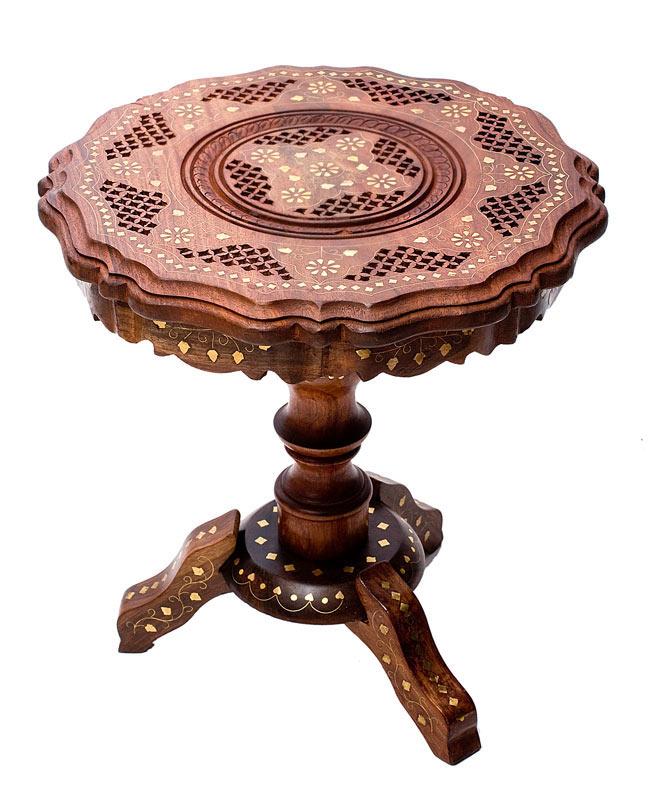 アジアンサイドテーブル 【直径:約37cm】の写真