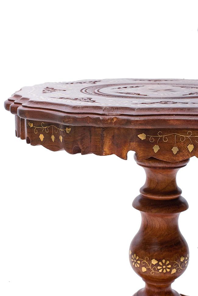 アジアンサイドテーブル 【直径:44cm】【三脚】の写真5 - 側面から見てみました。