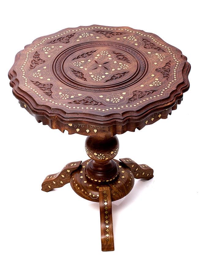 アジアンサイドテーブル 【直径:44cm】【三脚】の写真
