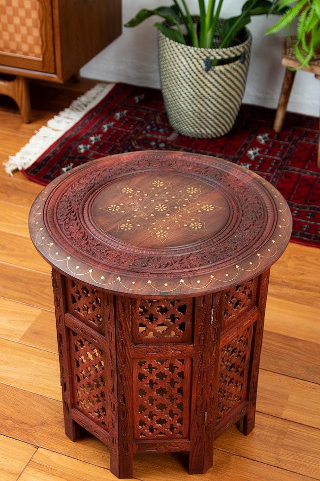 アジアンサイドテーブル 【直径:45cm】の写真2 - テーブル部分です。