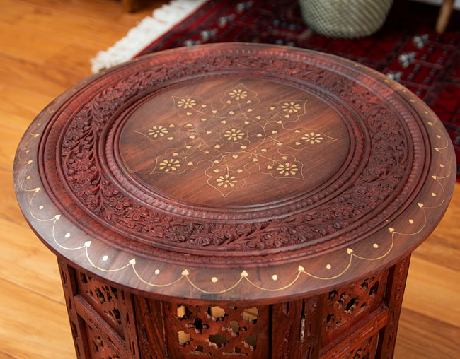 アジアンサイドテーブル 【直径:45cm】の写真3 - 真上から撮影しました。