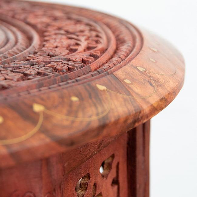 アジアンサイドテーブル 【直径:45cm】の写真8 - 脚部分もこのように彫刻が施されています。