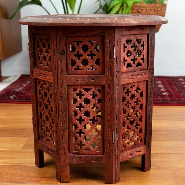 アジアンサイドテーブル 【直径:45cm】の写真9 - 裏返してみました。