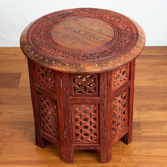 アジアンサイドテーブル 【直径:45cm】の写真