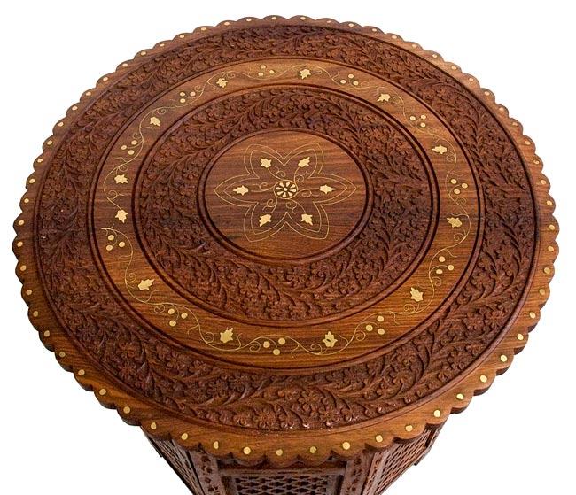 アジアンサイドテーブル 【直径:52cm】【格子型足】の写真2 -