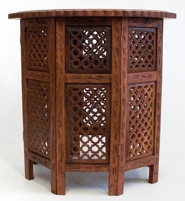 アジアンサイドテーブル 【直径:52cm】【格子型足】の写真3 -