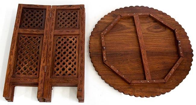アジアンサイドテーブル 【直径:52cm】【格子型足】の写真4 -