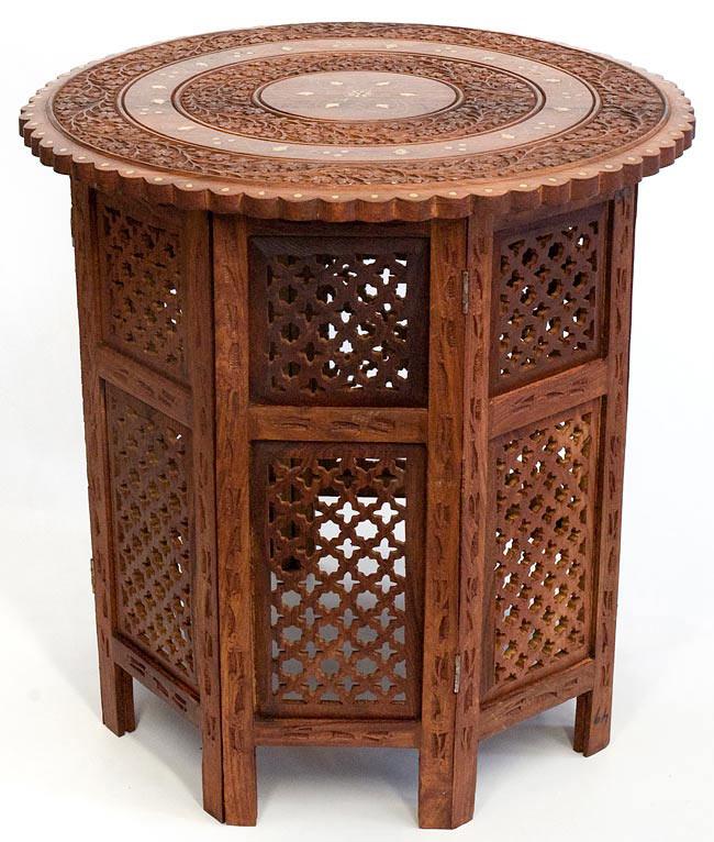 アジアンサイドテーブル 【直径:52cm】【格子型足】の写真