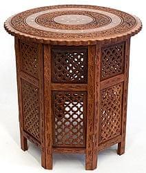 アジアンサイドテーブル 【直径:52cm】【格子型足】
