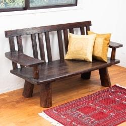 手作りのバリスタイル 木製3人掛けアンティークベンチ