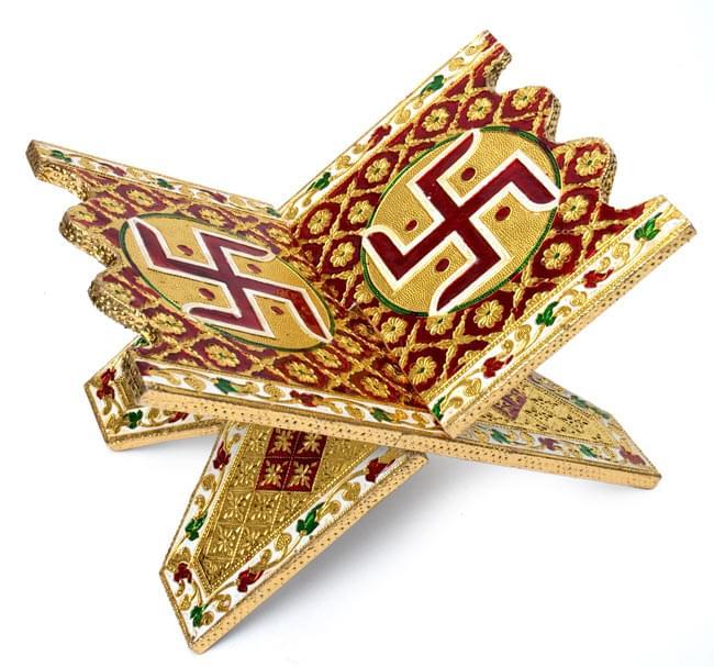 ヒンドゥー教の書見台-小【スワスティカ】の写真