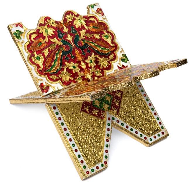 ヒンドゥー教の書見台-小【ピーコック】の写真3 - 別の角度から撮影しました