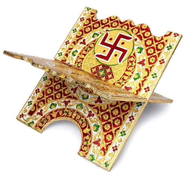 ヒンドゥー教の書見台-大【スワスティカ】 2 - 別の角度から撮影しました