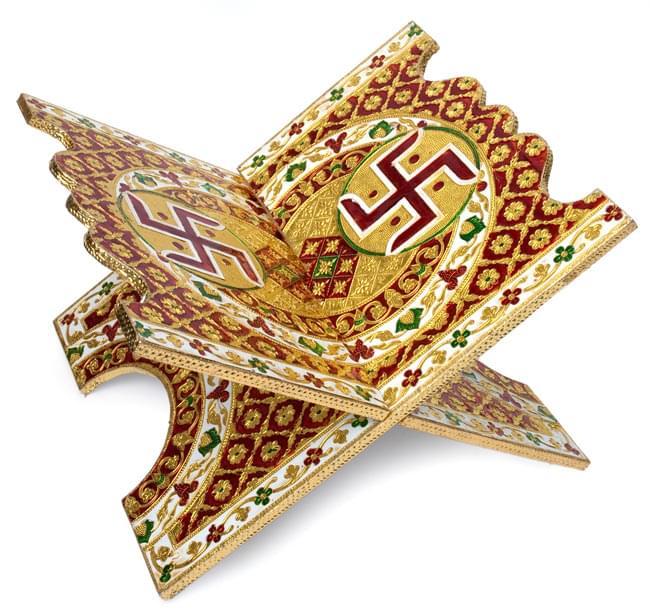 ヒンドゥー教の書見台-大【スワスティカ】の写真