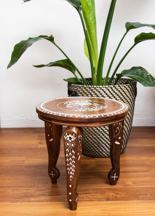 象モチーフのアジアンサイドテーブル 【直径:約30cm】 2 - 上から見てみました。こちらは天板のデザインAになります。