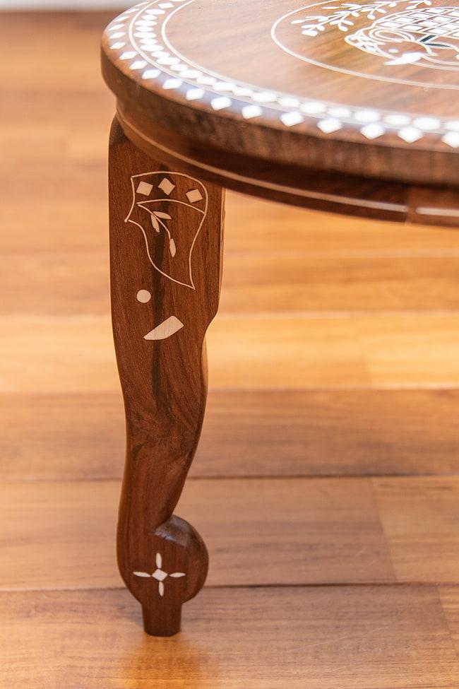 象モチーフのアジアンサイドテーブル 【直径:約30cm】 7 - 反対から見てみました。