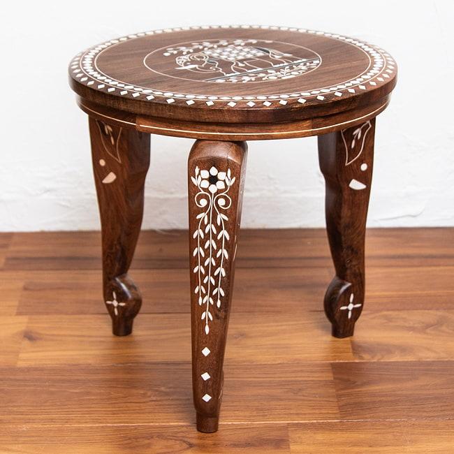 象モチーフのアジアンサイドテーブル 【直径:約30cm】の写真