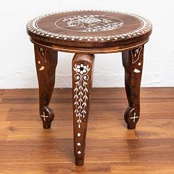 象モチーフのアジアンサイドテーブル 【直径:約30cm】の商品写真