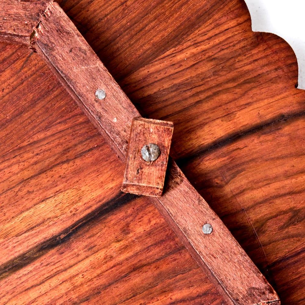 アジアンサイドテーブル 【直径:46cm】【格子足タイプ】 10 - 足は取り外せます。足の取り付け部に書いてある番号と同じ穴に取り付けてください。