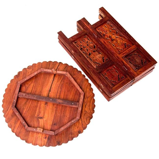 アジアンサイドテーブル 【直径:46cm】【格子足タイプ】 11 - 全部分解してみました。コンパクトに収納できます。