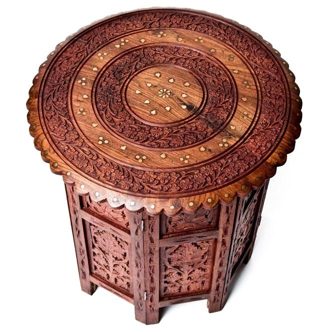 アジアンサイドテーブル 【直径:46cm】【格子足タイプ】 2 - 紋様が美しいですね。