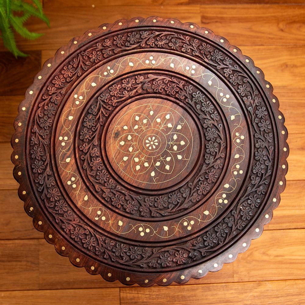 アジアンサイドテーブル 【直径:46cm】【格子足タイプ】 3 - 上面の模様に着目してみました。