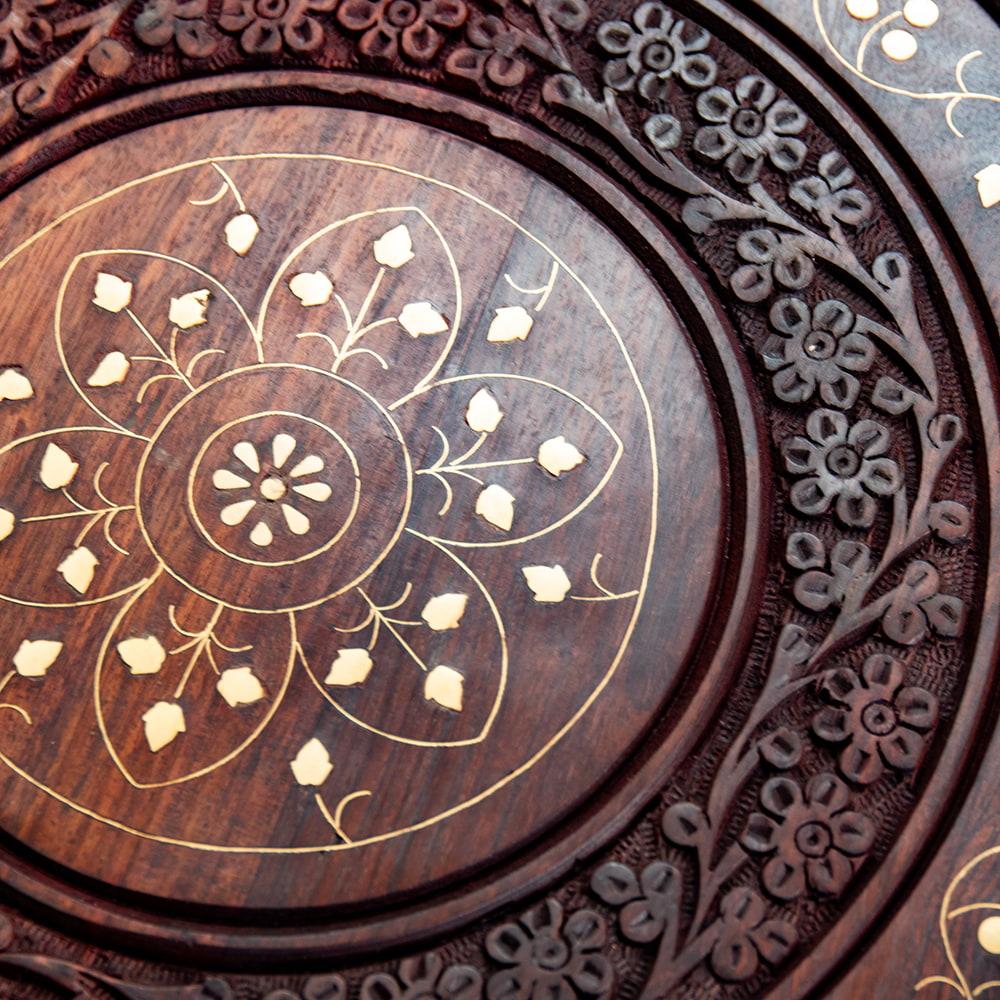 アジアンサイドテーブル 【直径:46cm】【格子足タイプ】 4 - 更に近寄って見てみました。