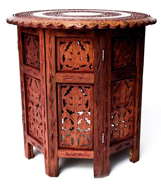 アジアンサイドテーブル 【直径:46cm】【格子足タイプ】 7 - ガッシリとした安定感のある足部です。 重たいお皿を置いても大丈夫です。