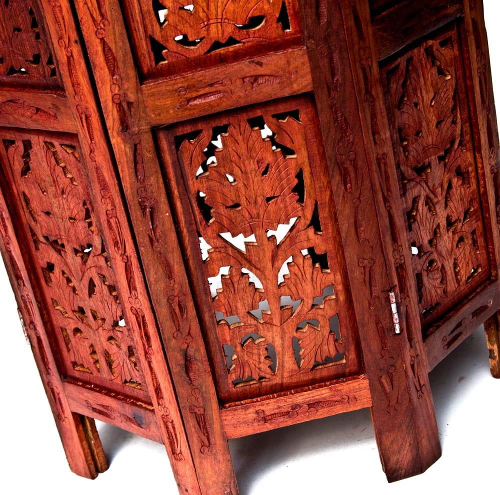 アジアンサイドテーブル 【直径:46cm】【格子足タイプ】 8 - 足も手抜きなく装飾されています。