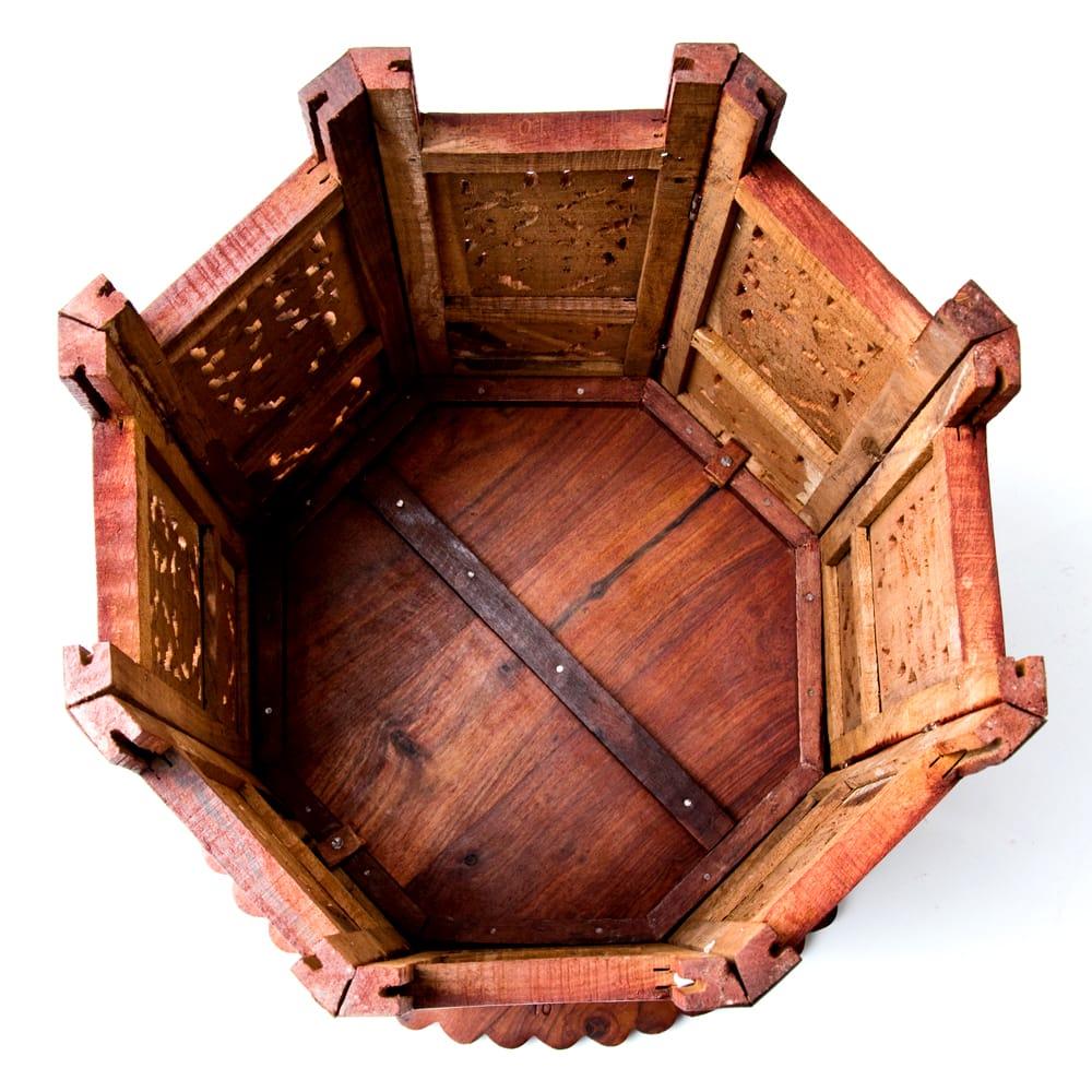 アジアンサイドテーブル 【直径:46cm】【格子足タイプ】 9 - 裏面の様子です。