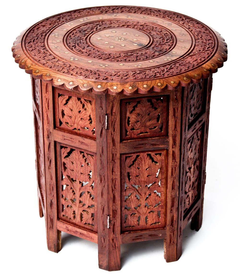 アジアンサイドテーブル 【直径:46cm】【格子足タイプ】の写真