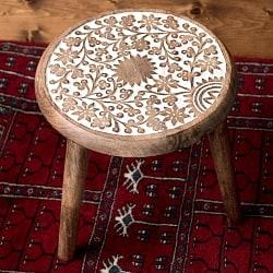 マンゴーウッドのマンダラ・スツール - 子供用椅子 - 小さな椅子 つる草模様