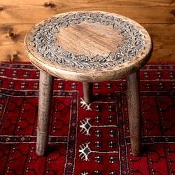 マンゴーウッドのマンダラ・スツール - 子供用椅子 - 小さな椅子 円形花模様