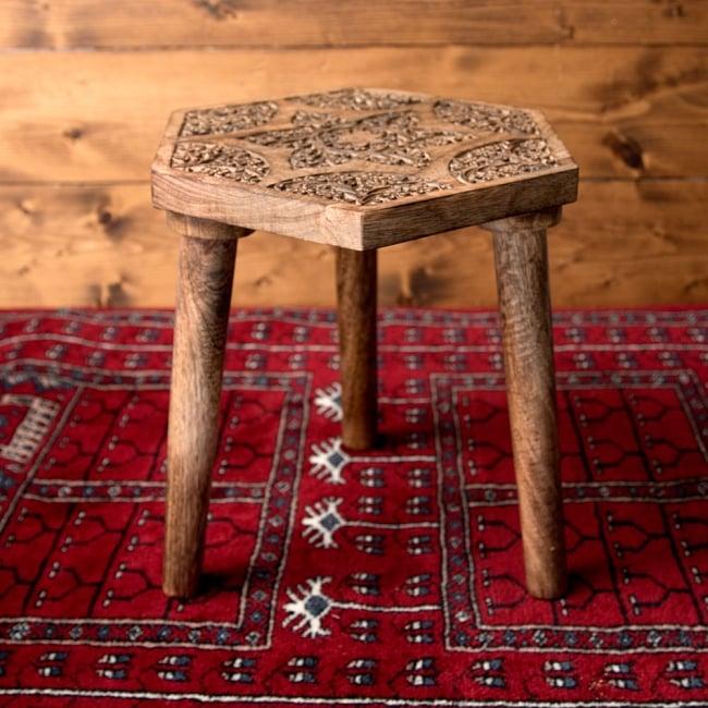 マンゴーウッドのマンダラ・スツール - 子供用椅子 - 小さな椅子 六角形ナチュラル 2 - 角度を変えて全体を撮影しました