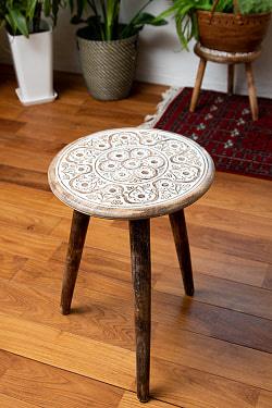 フラワーマンダラの彫刻が美しいサイドテーブル ハイスツール ホワイト -【天盤直径:37cm】