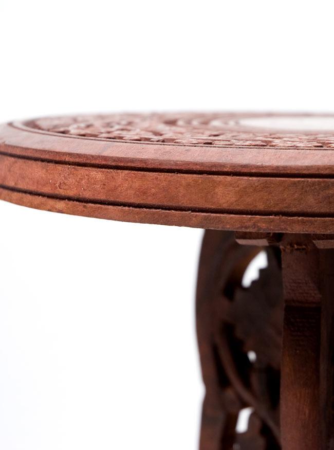 アジアンサイドテーブル 【直径:29cm】【トール】の写真5 - 板の厚みは2.3cm程度です。