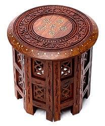アジアンサイドテーブル 【直径:30cm】【格子型足】