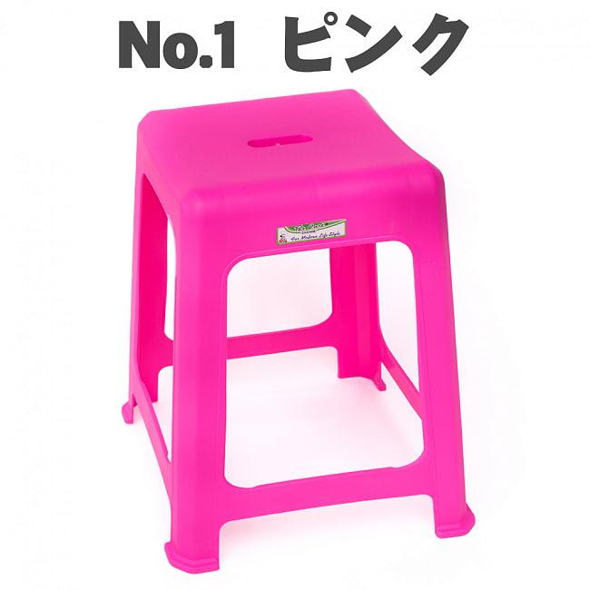 【自由に選べる6個セット】本場タイの屋台椅子 重ね収納OK! テラスなど屋外で使えるスタッキングチェア 16 - 〔No.1〕ピンク