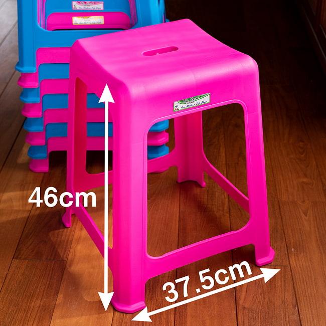 【自由に選べる6個セット】本場タイの屋台椅子 重ね収納OK! テラスなど屋外で使えるスタッキングチェア 3 - このようなサイズとなっております