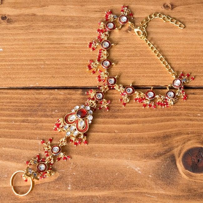 【ちょっと訳あり】ゴールドパンジャ[一本指] - 濃赤 9 - 【選択 - B】装飾の形が円系は、このように装飾の形が異なっております。