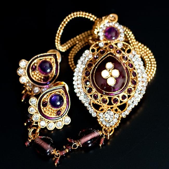 インド伝統アクセサリー オーバルネックレス&ピアスセット 11 - 【選択:C】紫の写真です