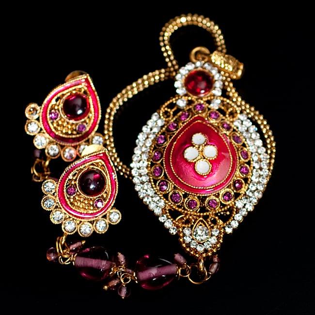 インド伝統アクセサリー オーバルネックレス&ピアスセット 12 - 【選択:D】ピンクの写真です