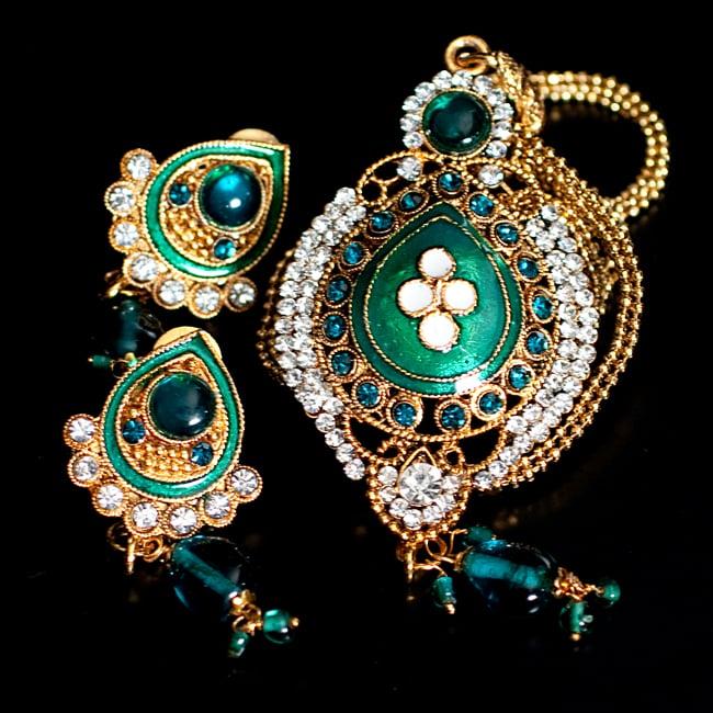 インド伝統アクセサリー オーバルネックレス&ピアスセット 13 - 【選択:E】緑の写真です
