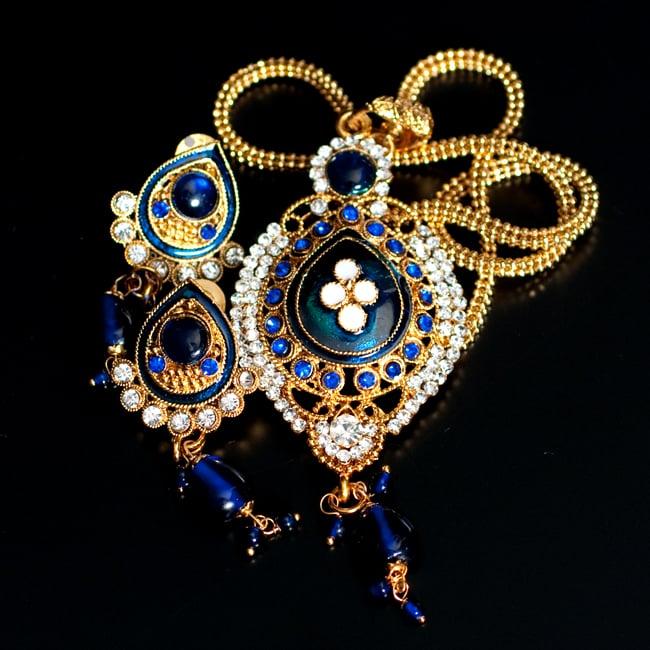 インド伝統アクセサリー オーバルネックレス&ピアスセット 9 - 【選択:A】青の写真です