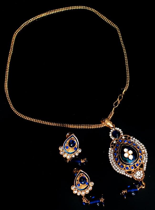 インド伝統アクセサリー オーバルネックレス&ピアスセットの写真