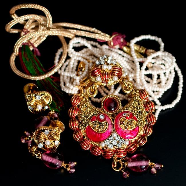 インド伝統アクセサリー ピーコックネックレス&ピアスセット 10 - 【選択:B】ピンクの写真です