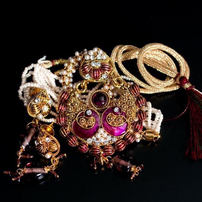 インド伝統アクセサリー ピーコックネックレス&ピアスセットの写真11 - 【選択:C】紫の写真です