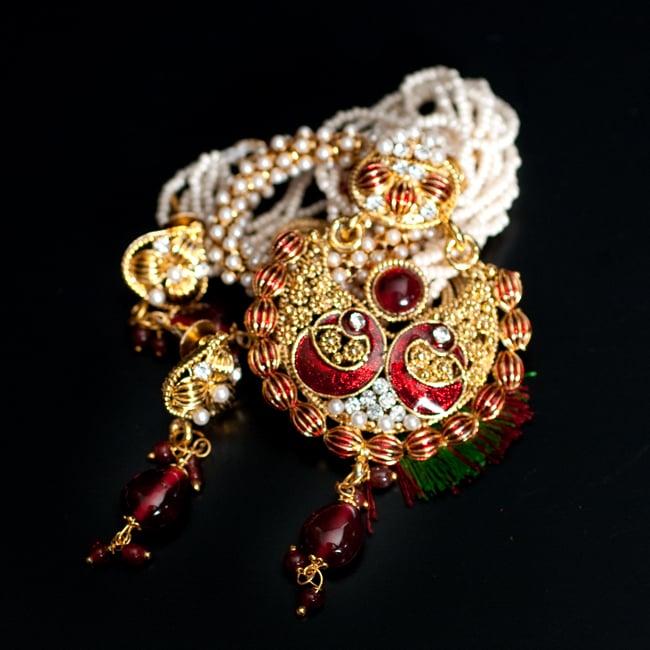 インド伝統アクセサリー ピーコックネックレス&ピアスセットの写真12 - 【選択:D】赤の写真です