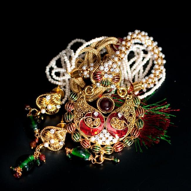 インド伝統アクセサリー ピーコックネックレス&ピアスセット 14 - 【選択:F】緑×赤の写真です